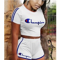 Champion two piece set women tracksuit clothes 2 piece set F0622-1 White