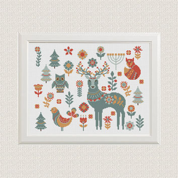 scandinavian animals fox deer owl cross stitch pattern  decor nature cross stitch folk Woodland Animals  unique gift needlecraft