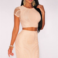 Apricot Short Sleeve Mesh Lace Crop Top and Bodycon Midi Skirt