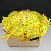 Yellow Calico Pincushion, Holds 9 Spools of Thread, Thread Included, Large 9 Inch, Vintage Pin Cushion, 1960 1970 Era