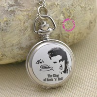 fashion love Elvis Presley Pocket Watch Necklace woman fob watches girl lady child antibrittle the king of rock n roll silver