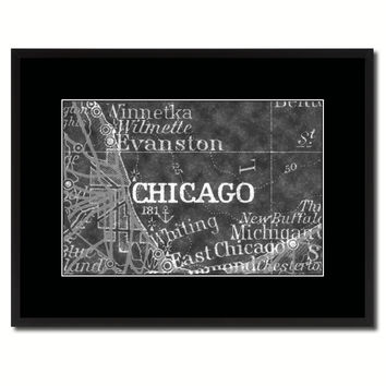 Chicago Illinois Vintage Monochrome Map Canvas Print, Gifts Picture Frames Home Decor Wall Art