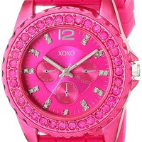 XOXO Womens XO8042 Rhinestone Accented Watch with Fuschia Silicone Strap