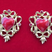 Avon red enamel heart and bows pierced earrings vintage 1992