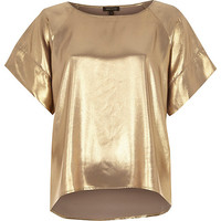 River Island Womens Gold metallic top
