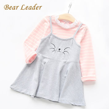Bear Leader Autumn Cartoon Grils Dress 2016 New Girls Clothes Long Sleeve Kitty Embroidery Fake Two Piece Dress for Kids Clothes