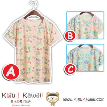 New Kawaii Spring Printed Summer Stylish Loose Tshirt Korean Style Tops 3 Designs KK732