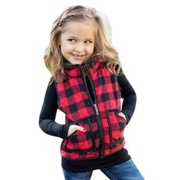 Toddler Vest Girl Sleeveless Coat Vest Kids Plaid Coat