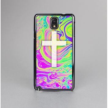 The Vector White Cross v2 over Neon Color Fushion Skin-Sert Case for the Samsung Galaxy Note 3