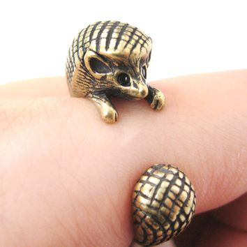 Hedgehog Porcupine Animal Wrap Around Ring in Brass - Sizes 4 to 9 Available