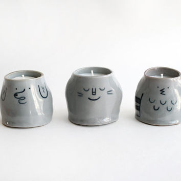 Small Animal Ceramic Soy Candles