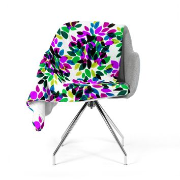 "Ebi Emporium ""Dahlia Dots 2"" Purple Green Fleece Throw Blanket"