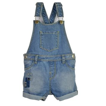 Infant Toddler Boy&Girl Denim Jeans Shorts Jumpsuit Suspender Kids Rompers playsuit Pocket Straps Patchwork Outfit Child Clothes