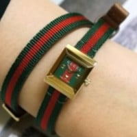 GUCCI Canvas Wrap Square Quartz Watch Red & Green Strap Watch F