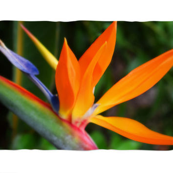 Strelitzia - Fleece Blanket, Rainbow Colored Tropical Beach Throw Cover, Bird of Paradise Coral Fleece Accent. In 30x40 50x60 60x80 Inches