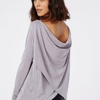 Missguided - Heavyweight Knitted Slinky Wrap Back Long Sleeve Top Grey