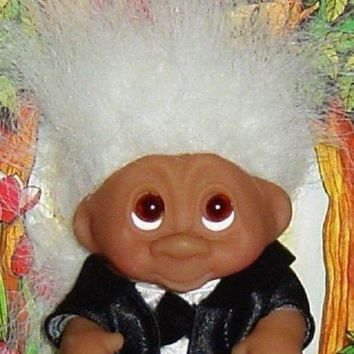Wedding Groom Dam Troll Doll 3' New Wedding Party Groom White Hair