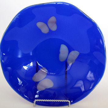 Butterfly Fused Glass Bowl - Fused Glass Dish - Decorative Plate - Decorative Blue Bowl