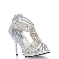Summer Rio P5186 Rhinestone Open Toe Heel - Silver at ShopRoxx.com