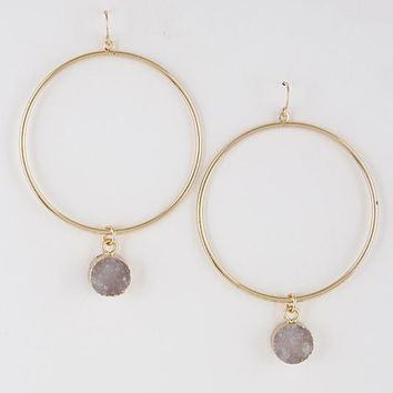 Thin Hoop Earrings With Small Stone Detail