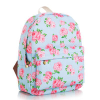 Striped Floral Stripes Animal Lovely Cute Korean Canvas Backpack = 4887999044