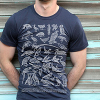 Birds T-shirt Land and Sea Vintage Graphics