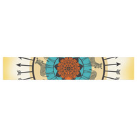 """Famenxt """"Colorful Peacock"""" White Green Table Runner"""