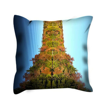 Blue Reflections Pillow Cover, Blue Green Designer Pillow Cover, Natural Eiffel Tower (see second picture)