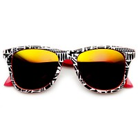 Native Print Two Tone Mirror Lens Horned Rim Sunglasses 9381