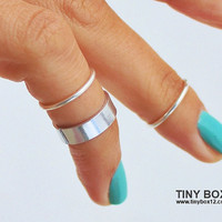 3 Above  Knuckle Ring -  Knuckle Rings - Silver  Midi Rings - 925 Silver Filled Stacking Ring - Set of 3