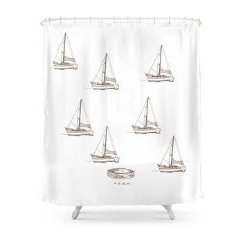 Society6 Boat Shower Curtain