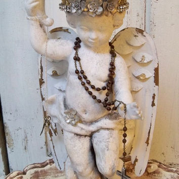 Cherub statue vintage hand painted distressed with elaborate crown French Nordic , Santos inspired home decor anita spero