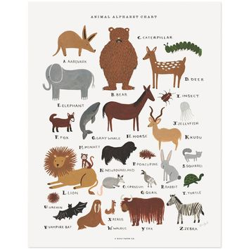 Animal Alphabet Chart Art Print by RIFLE PAPER Co. | Made in USA