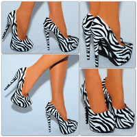 Zebra printed high heel platform stiletto court shoes