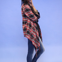 Fringed Open Front Plaid Cardigan