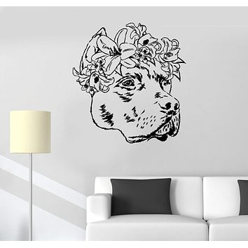 Vinyl Wall Decal Companion Dog Friend Art Flowers Pet Salon Stickers Unique Gift (957ig)