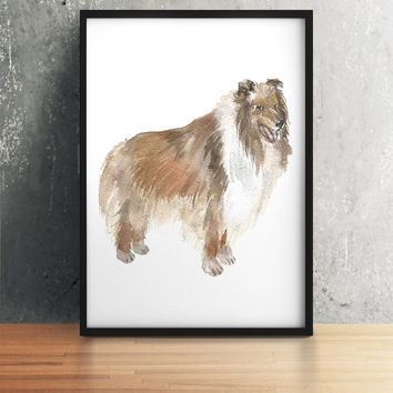 Collie print Watercolor dog poster Cute nursery art ACW66