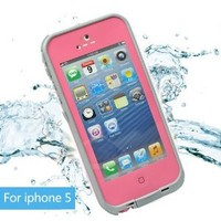 Leang Waterproof Shockproof and Dirtproof Case for iPhone 5 Life Dirt Proof Case Pink + Cleaning Cloth