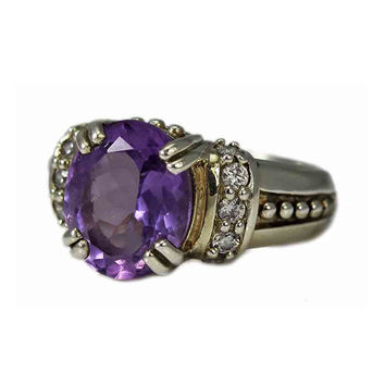 Beaded Sterling Silver Amethyst and Cubic Zirconia Ring