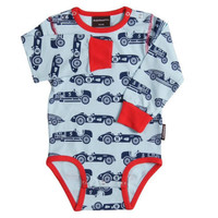 Organic Race Car Winter Bodysuit: Size 3-6m