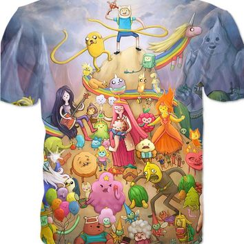 Cartoon Adventure Time T-Shirt The Characters Women Men Tshirt 3d Printed Graphic Tee Fashion Summer T Shirt Plus Size 5XL R2891