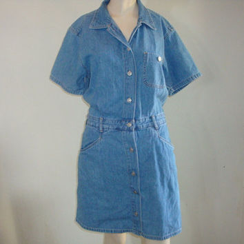 vintage gloria vanderbilt denim jean skort overalls shortalls coveralls dress size medium hipster indie boho