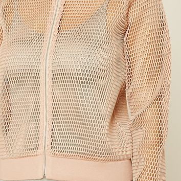 Open-Mesh Bomber Jacket