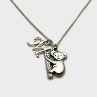 Koala Bear Necklace Personalized Initial Koala Necklace Animal Jewelry Animal Necklace Koala Bear Jewelry Koala Jewelry