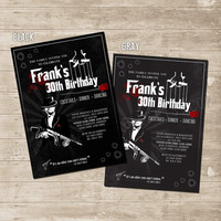 Mafia The Godfather inspired Invitation Printable Birthday Invite - mobster gangster invite 30th, 40th, 50th, 60th, 70th birthday for men