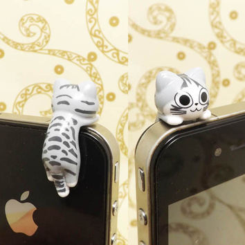Adorable Stripe Hanging Grey Cat Kitten Anti Dust Plug 3.5mm Phone Accessory Charm Headphone Jack Earphone Cap iPhone 4 4S iPad HTC Samsung