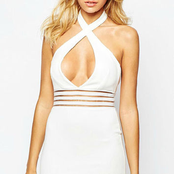 White Cut Out Halter Bodycon Dress