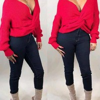 New Red Pleated Irregular Deep V-neck Off Shoulder Backless Casual Pullover Sweater