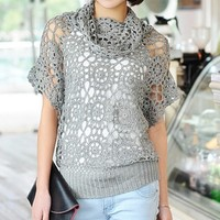 handmade crotch shawl summer knitted pullover women's cutout knitted