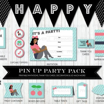 Vintage African Pin Up Package, Birthday Party Decorations, DIY Party, Pin Up Retro, Rockabilly, Ladies, Cherry, Pink, Turquoise,  PolkaDot